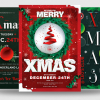 Christmas Flyer Invitation Template PSD Design editable with photoshop. Red green santa poster download