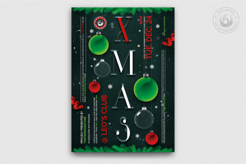 Christmas EVE Flyer Invitation Template PSD Design editable with photoshop. Red green santa poster download