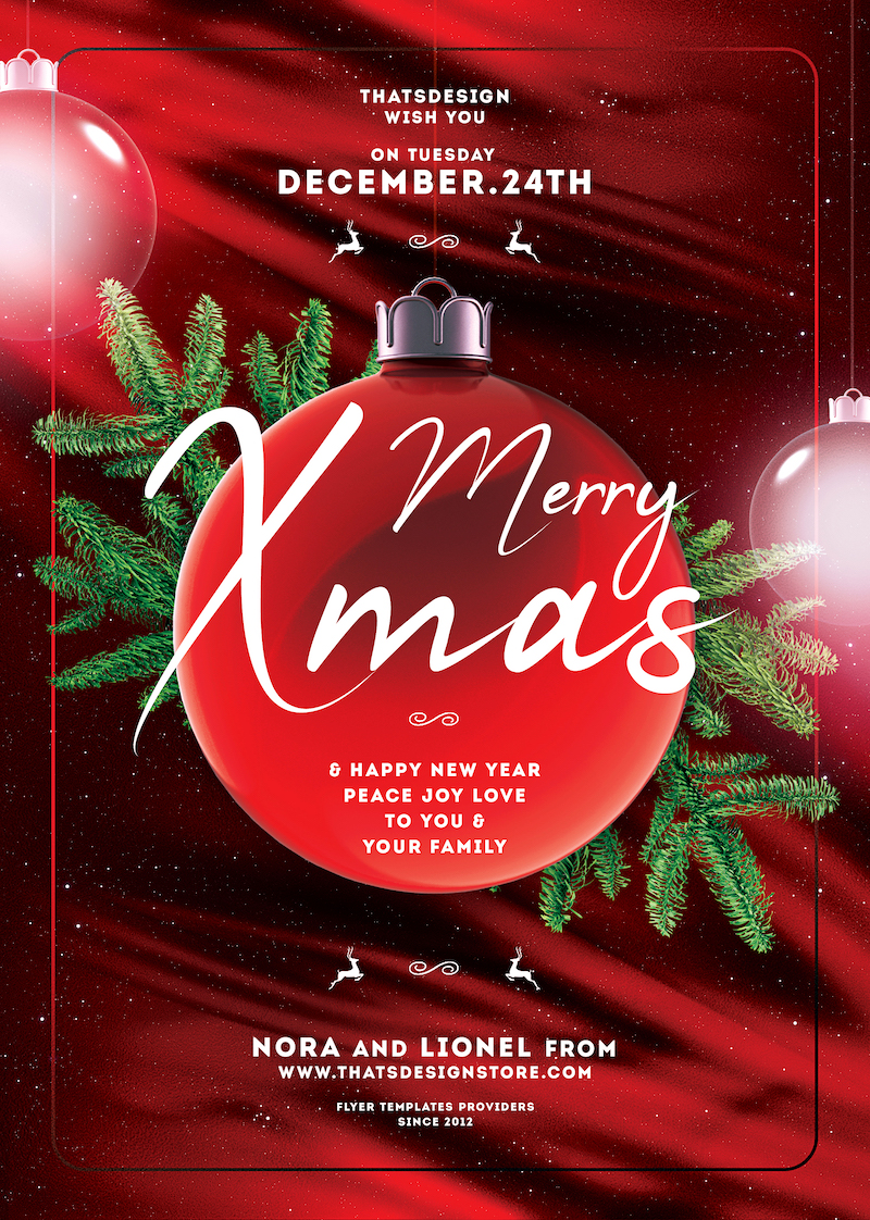 Free Christmas Flyer Invitation Template PSD Design editable with photoshop. Red green santa poster download