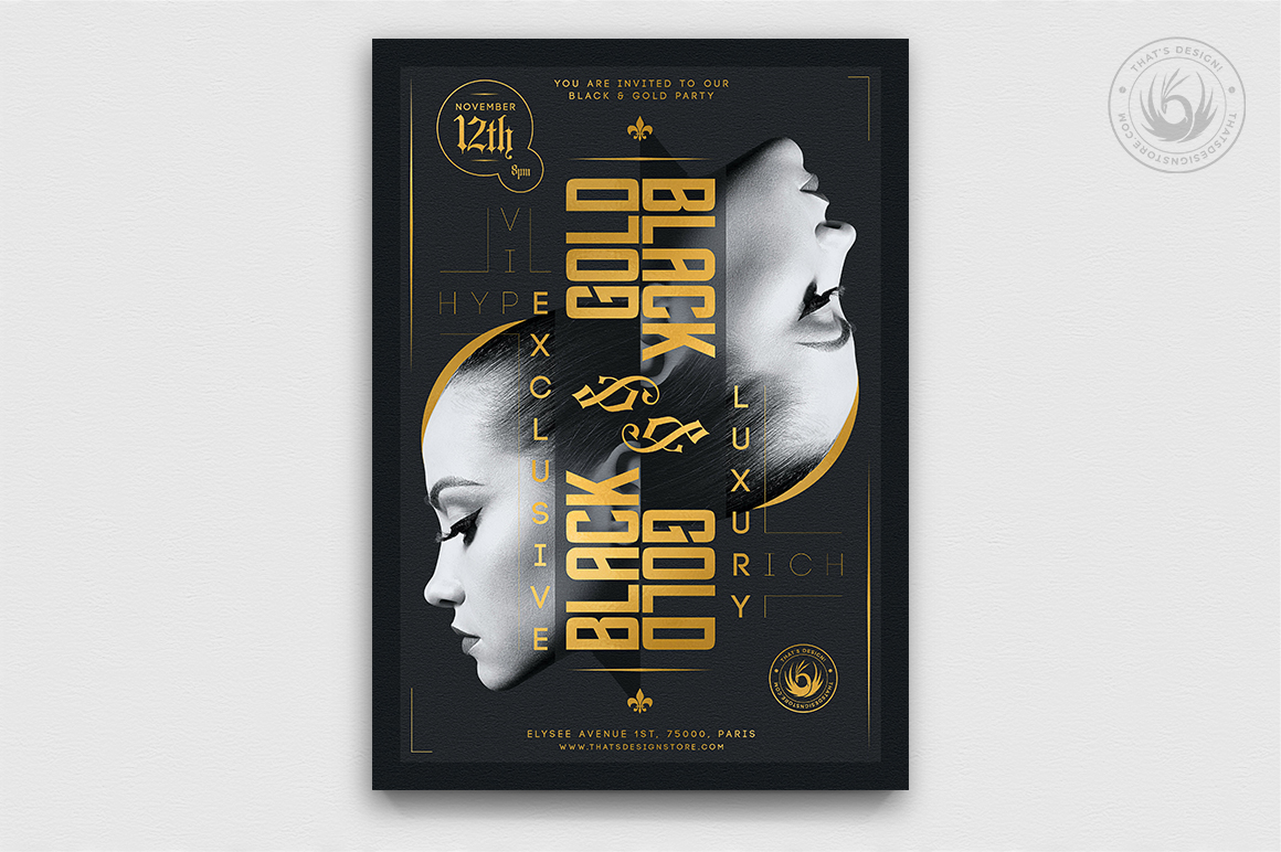 Minimal Black & Gold Flyer Template V17