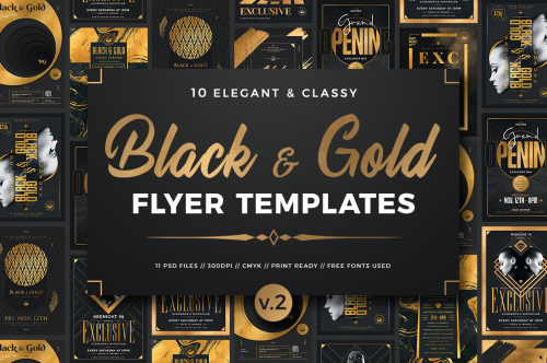 Black and Gold Flyers Bundle V2