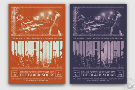 Indie Rock Flyer Template PSD V9