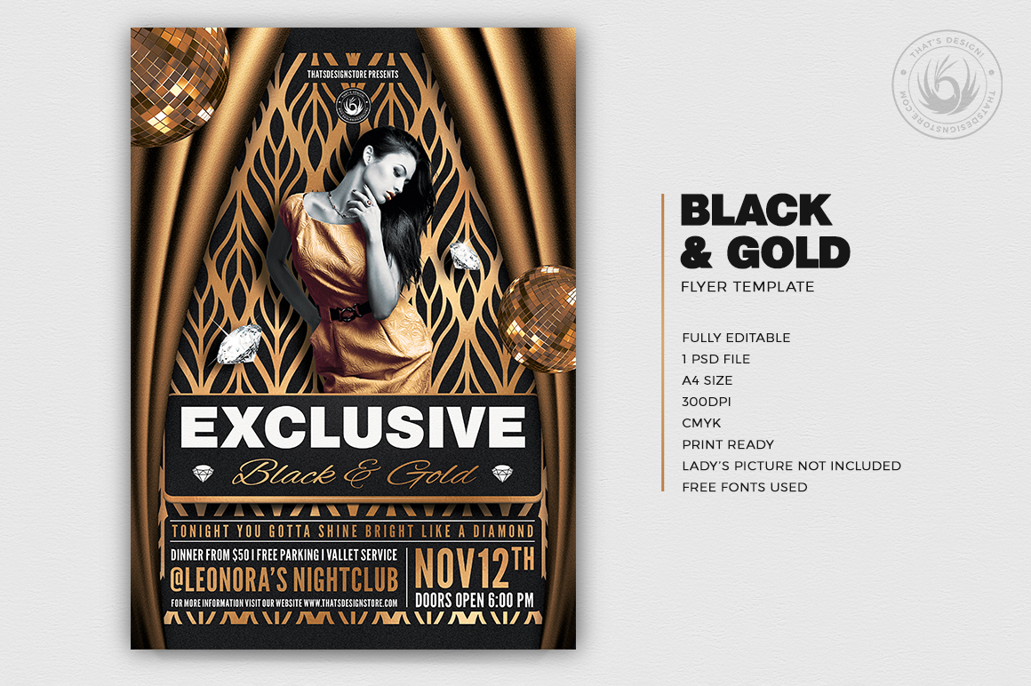 Minimal Black & Gold Flyer Template PSD V19