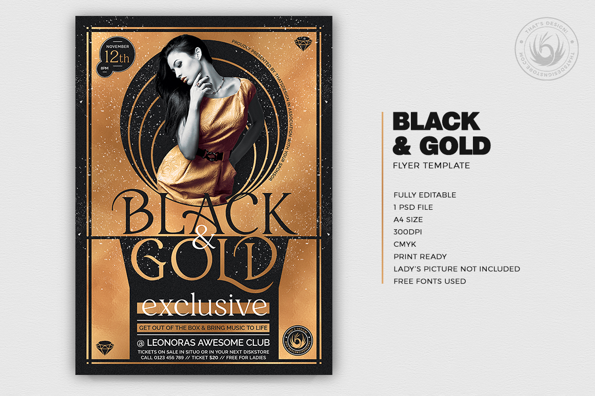 Minimal Black & Gold Flyer Template PSD design download V20