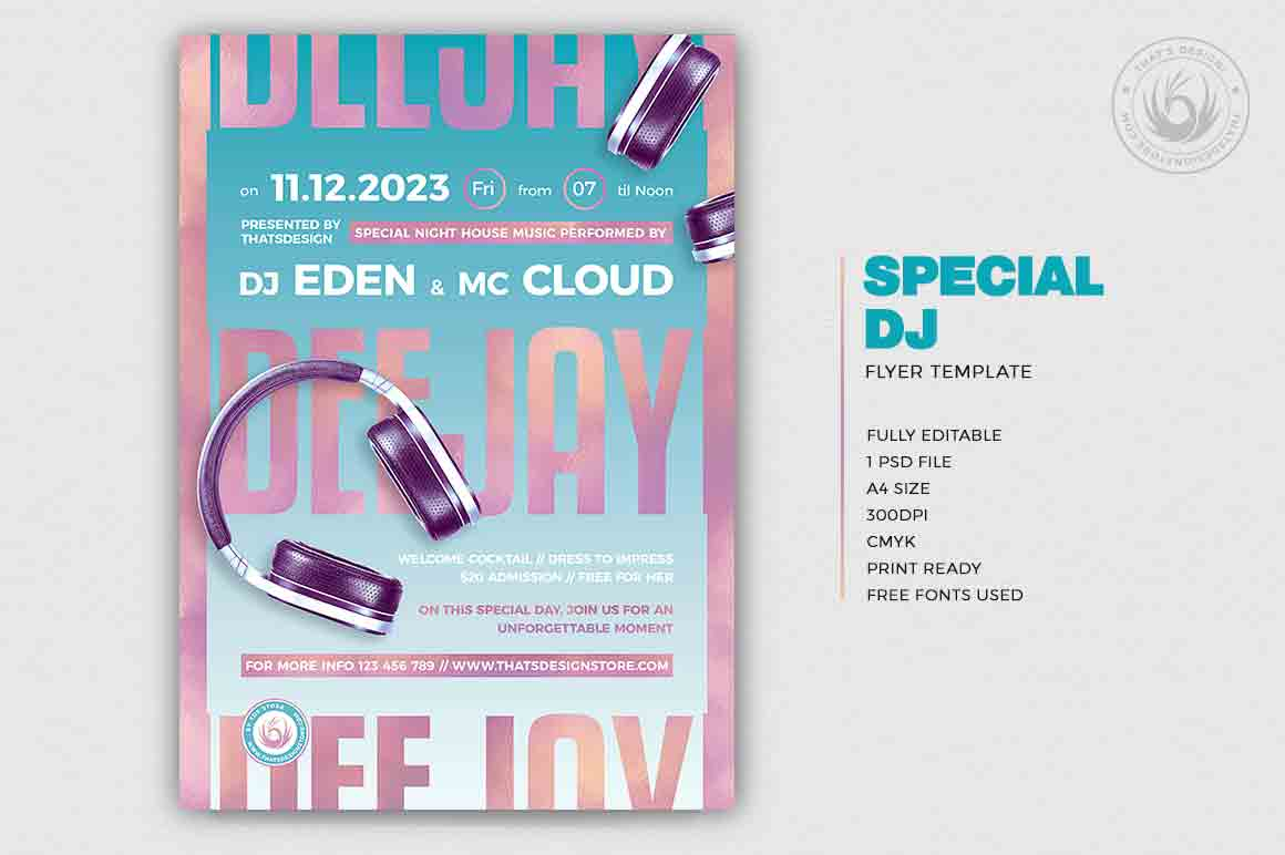 Special Dj Flyer Template PSD Download Design V6