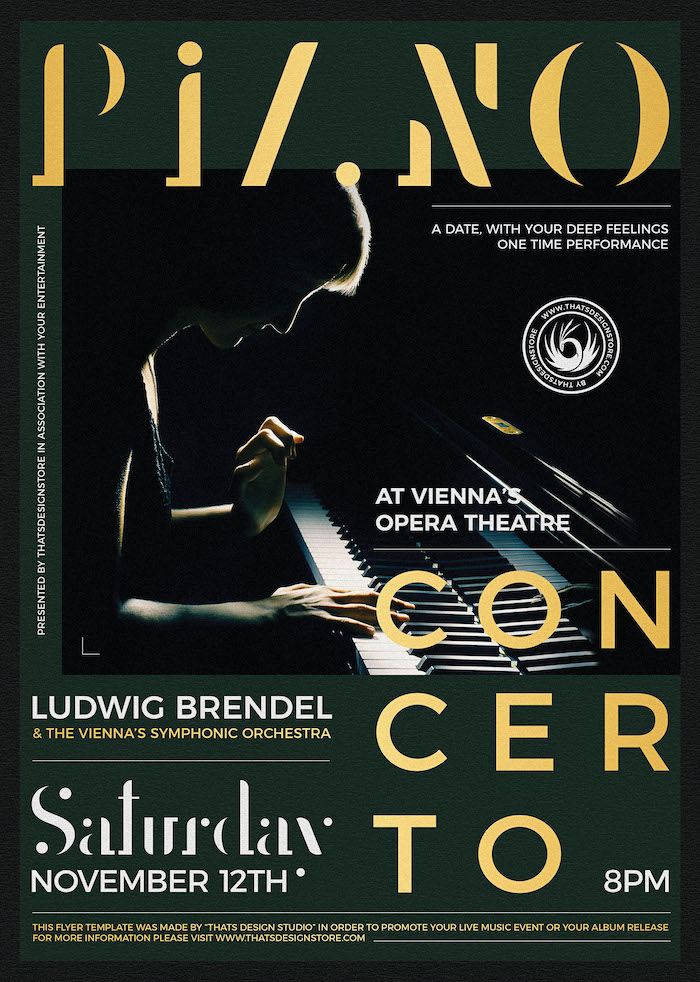Piano Concerto Flyer Template psd download V3