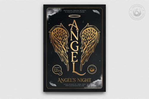 Angels Party Flyer Template V3, Gold luxury elegant psd download