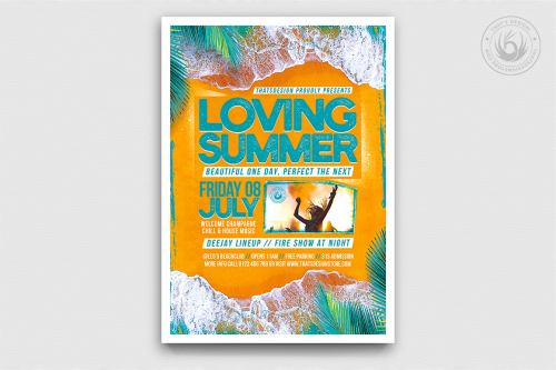 Beach Party Flyer Template V9, Summer party Psd download