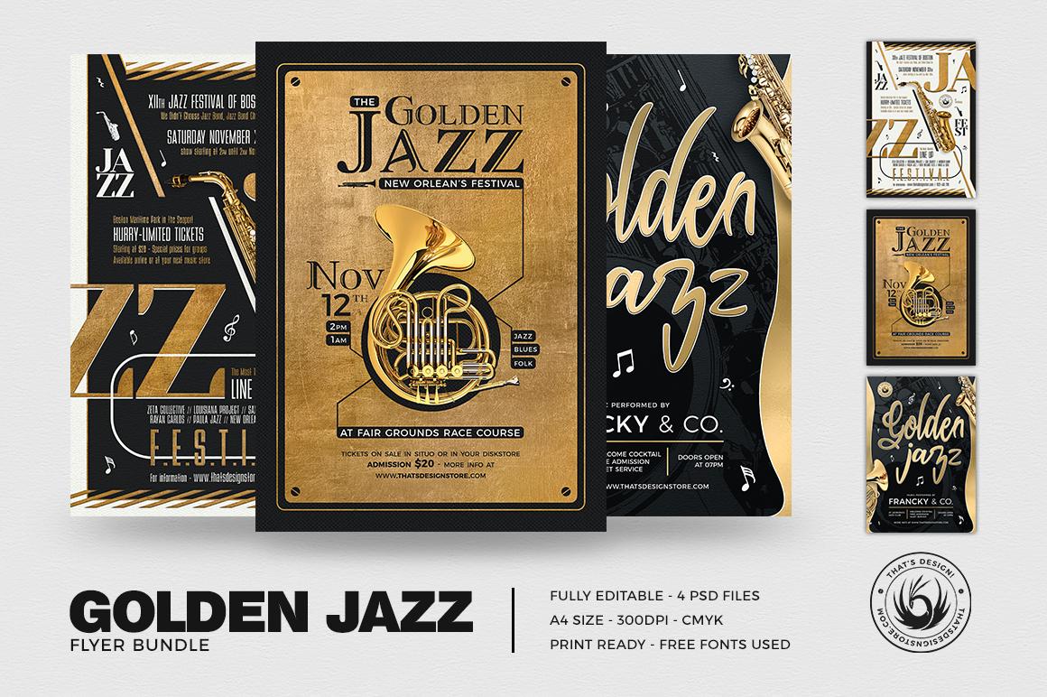 Golden Jazz Flyer Templates Bundle