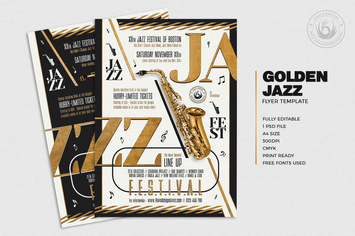 Golden Jazz Flyer Template V3