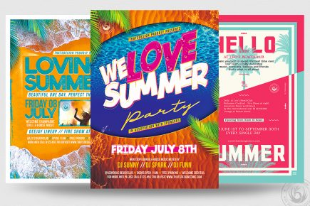 Summertime Flyer Templates PSD for beach party