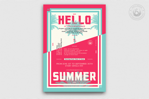 Summertime Flyer Template Psd download for beach party