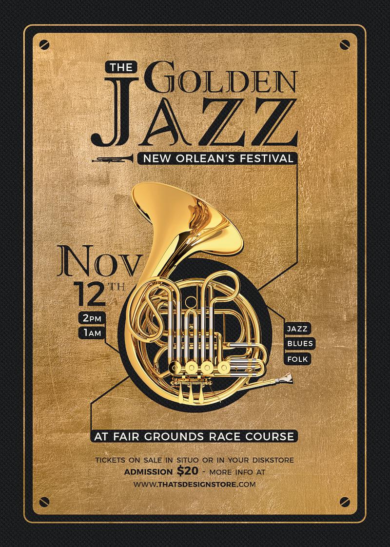 Golden Jazz Flyer Template V4