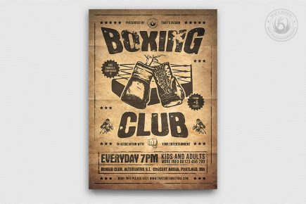 Boxing Classes PSD Flyer Template, fight night poster