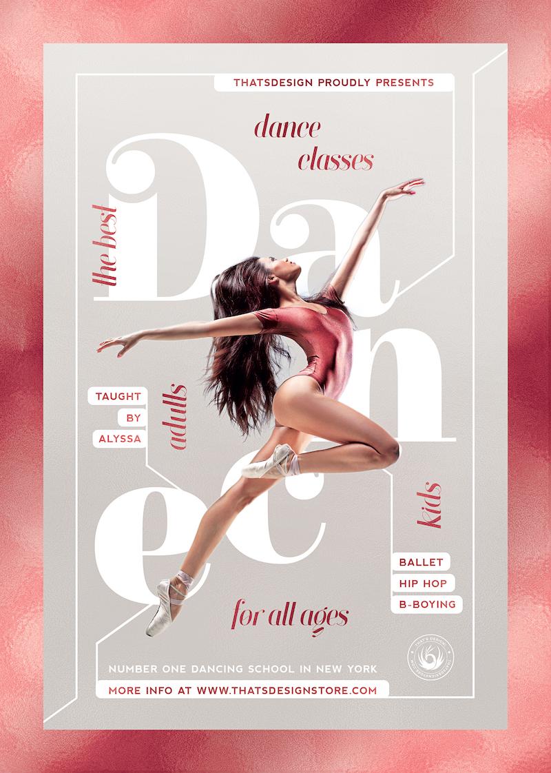 Dance Classes Flyer Template psd download