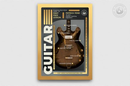 Guitar Lessons Flyer Template psd download design