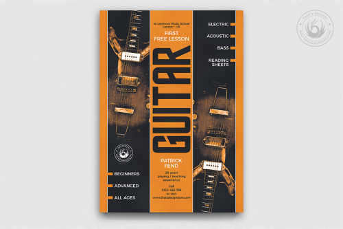 Guitar Lessons Flyer Template, psd concert live band