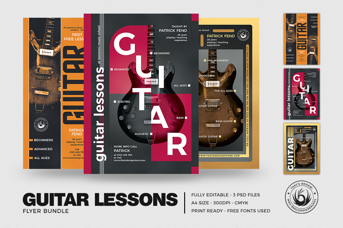 Guitar Lessons Flyer Templates PSD design for photoshop