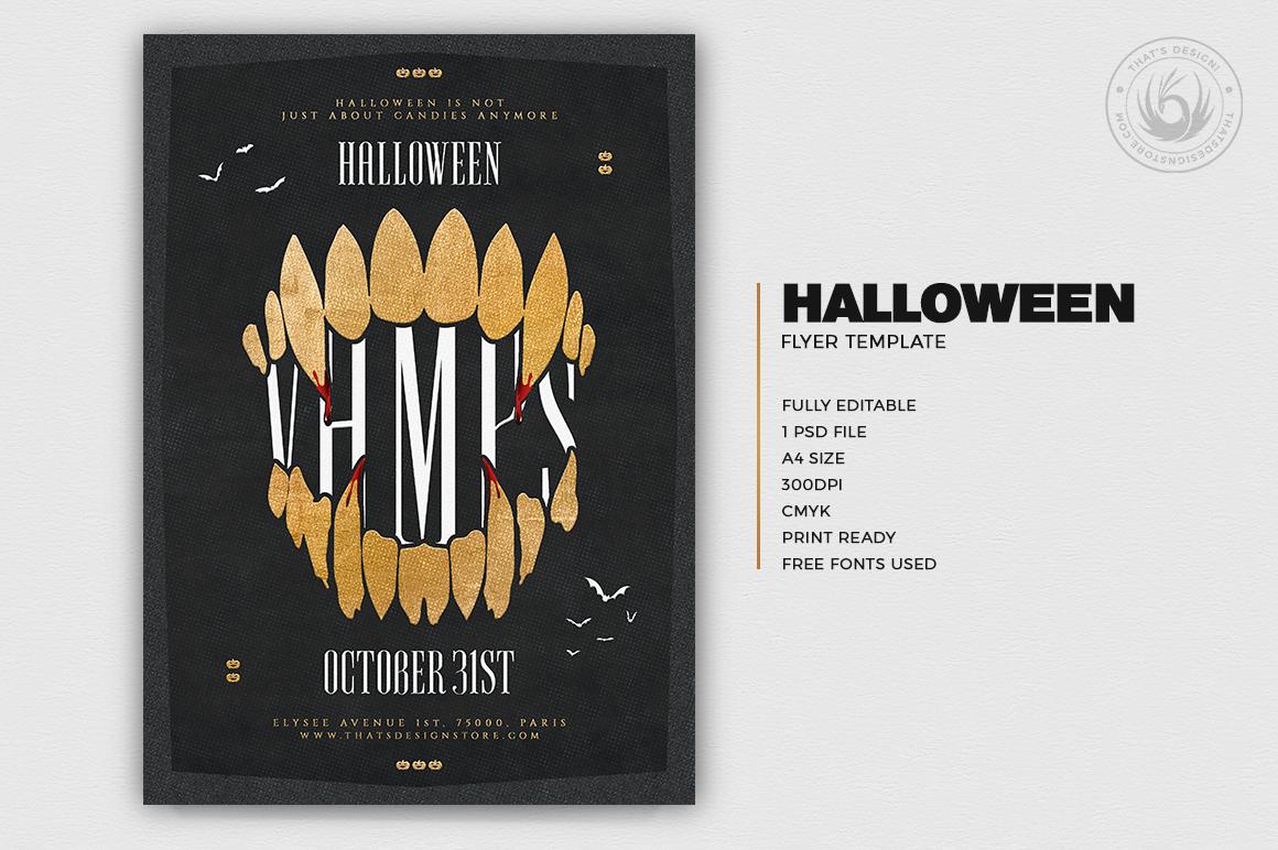 Halloween Flyer Design Template psd download poster