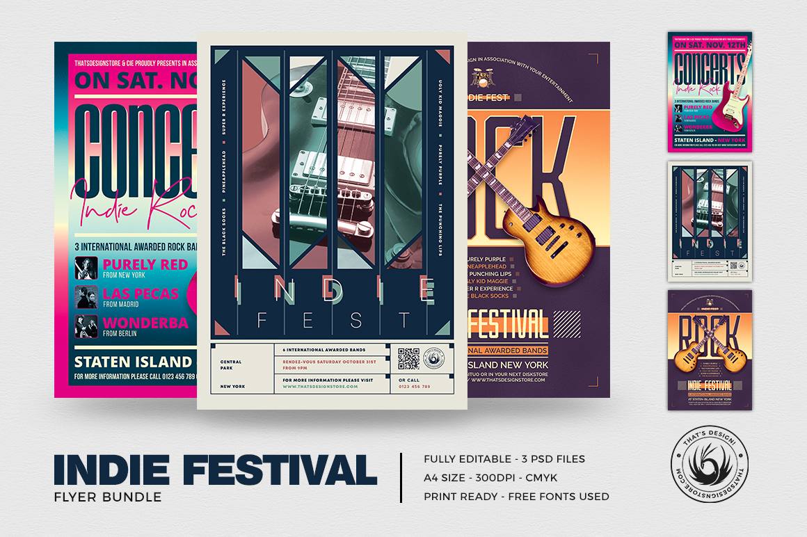 Indie Fest Flyer Templates design Bundle