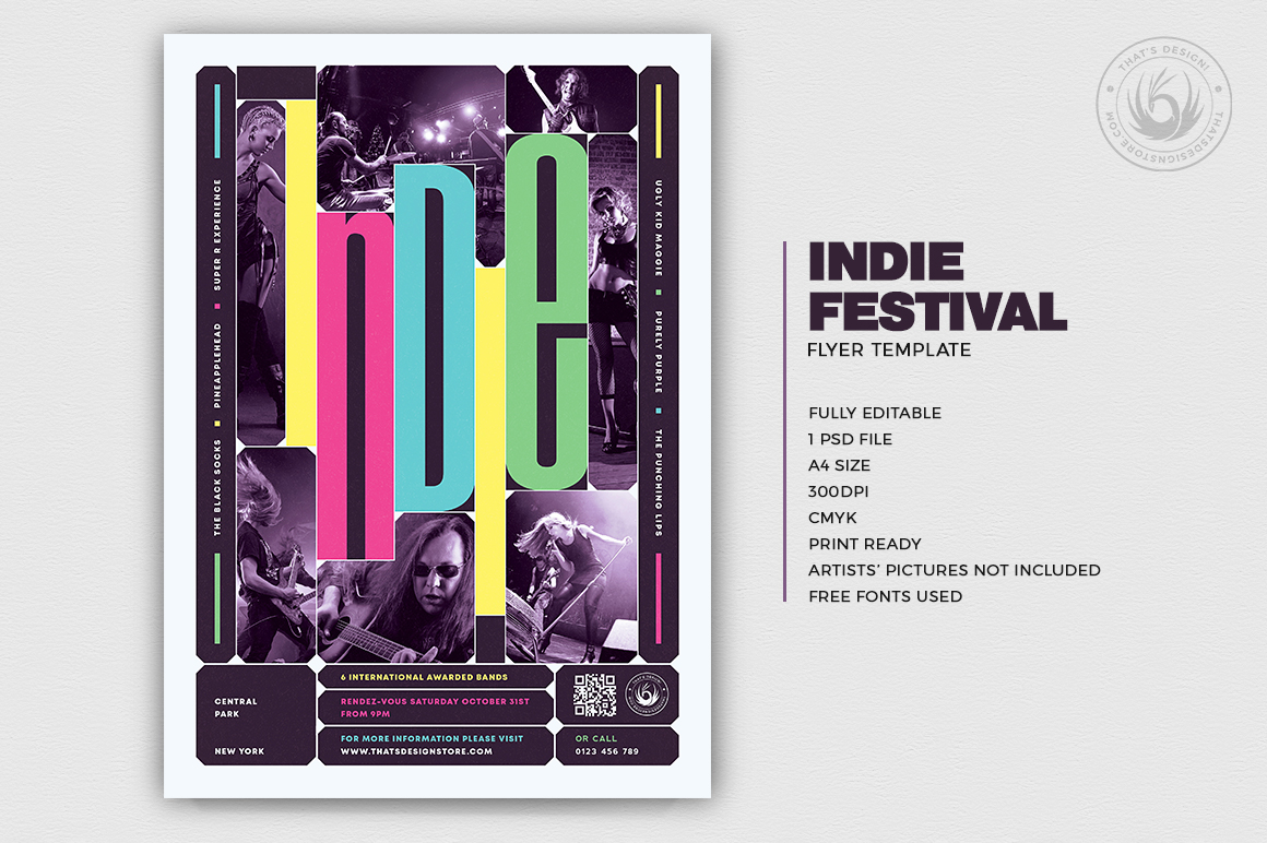 Indie Fest Flyer Template design psd for photoshop V10
