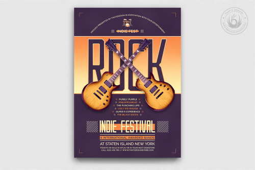 Indie Flyer Template Concert, Rock Band posters