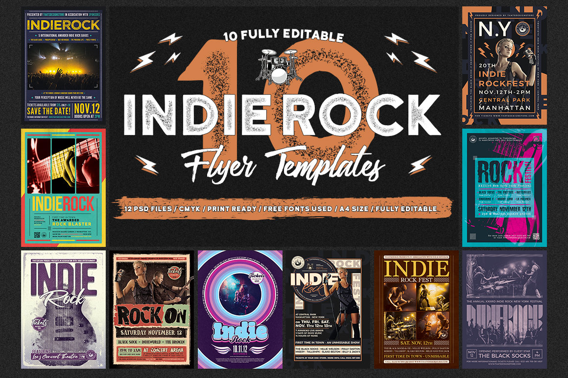 10 Indie Rock Flyer Templates Bundle