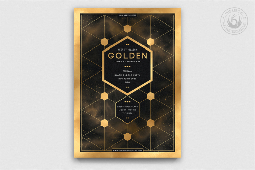 Minimal Black & Gold Flyer Template V21