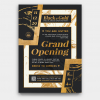Grand opening flyers PSD, announcement Invitations, Gold luxury events