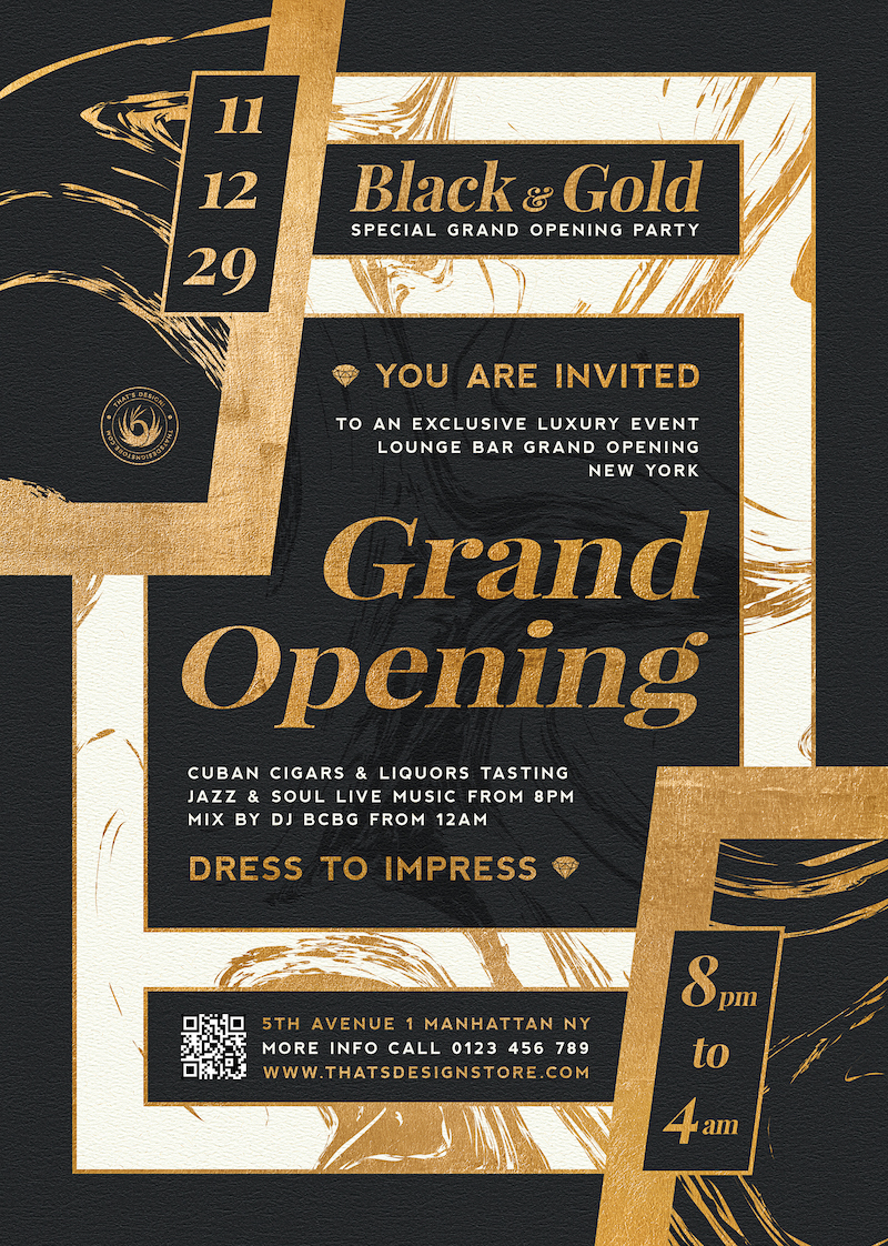 Grand opening flyers templates PSD, announcement Invitations, Gold luxury events