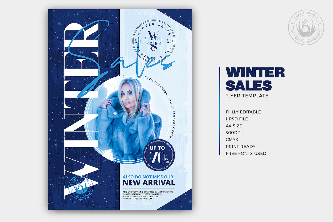 Winter Sale Flyer Template, product deal, offer, sales, psd download for photoshop