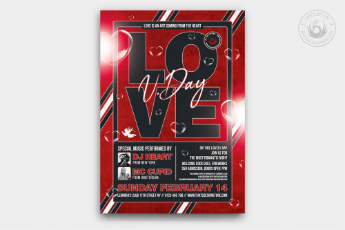 Valentine's Day Flyer Template PSD editable with photoshop. Red poster design to download