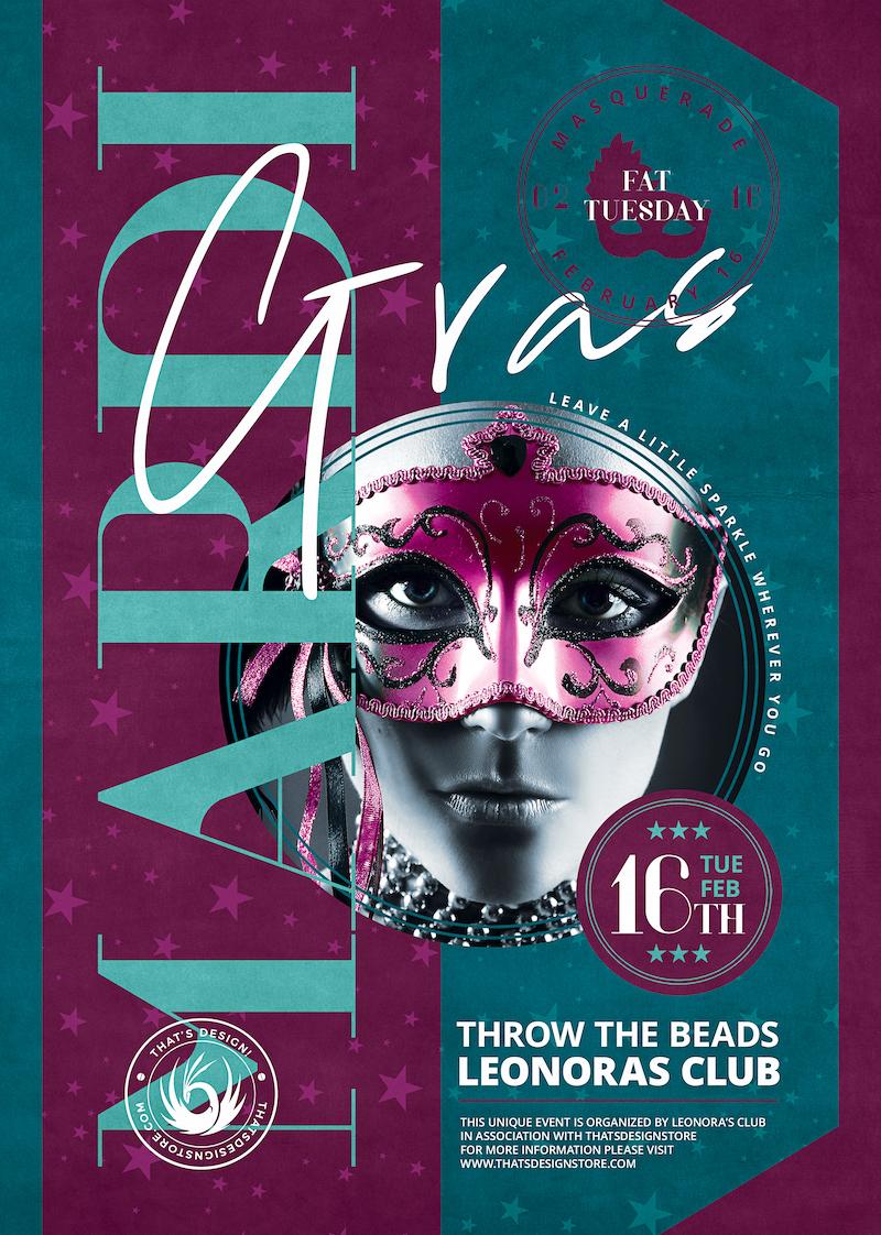 Mardi Gras Flyer Template PSD design for carnival or masquerade party