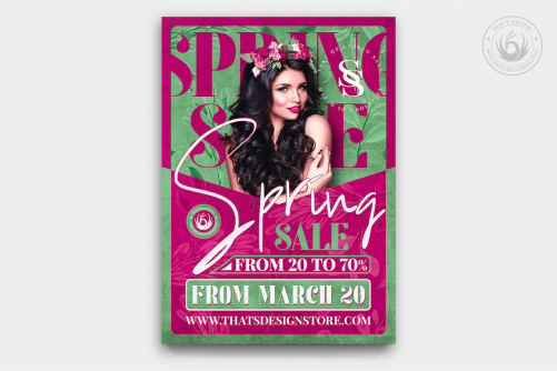 Spring Sale Flyer Template PSD download, season offer, green ecologic event