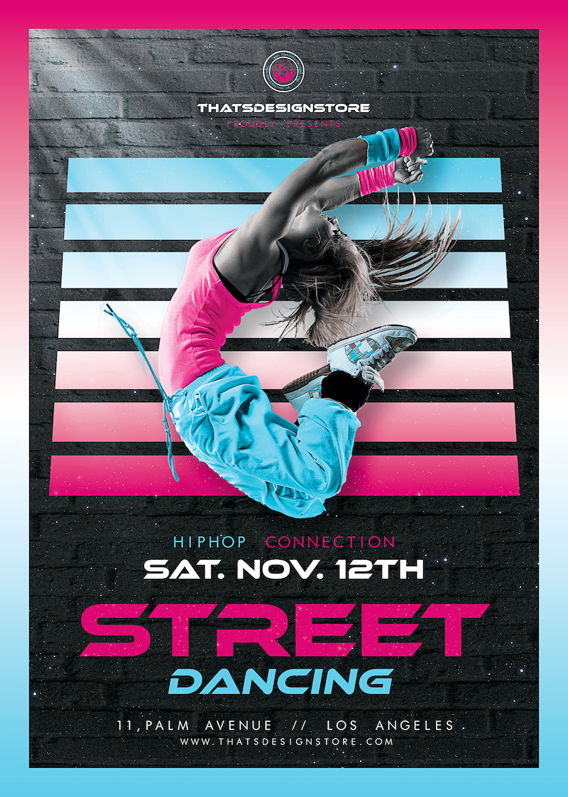 Download Street Dancing Flyer Template PSD design to customize with Photoshop, suitable for hip hop and break-dance classes!