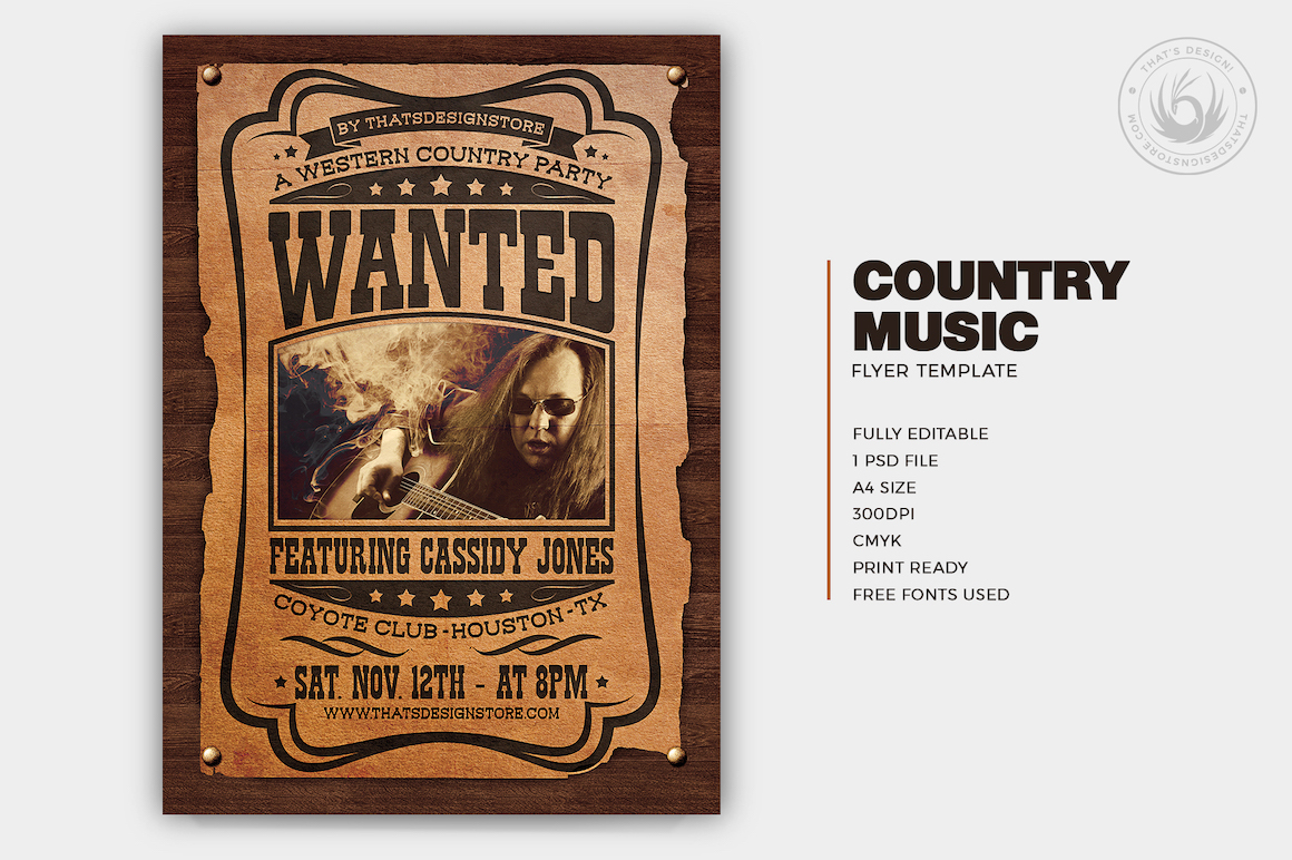 Country music Flyer Template PSD download V4, Wanted flyers farwest Western music template, rodeo bike cowboy in a coyote bar
