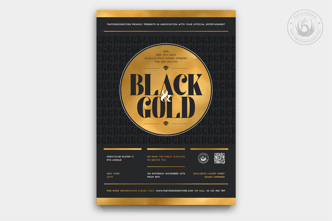 Download Minimal black Gold Party Flyer PSD Template designed for an exclusive VIP, elegant, glamour, luxury celebration or cigar lounge promotion