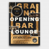 Grand opening flyer template PSD, announcement Invitations, Gold luxury events