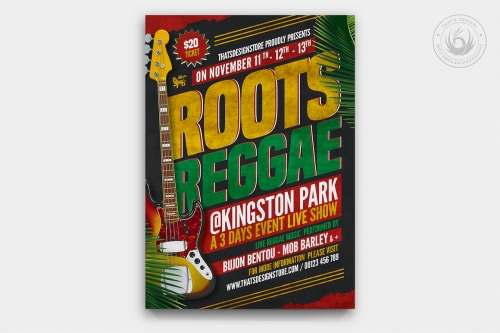 Reggae Music Flyer Template, Rasta PSD Poster V2 for Photoshop