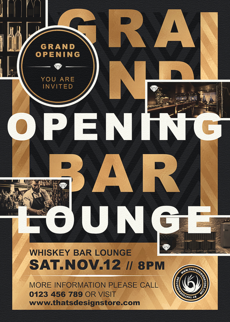 Grand opening flyer templates PSD, announcement Invitations, Gold luxury events