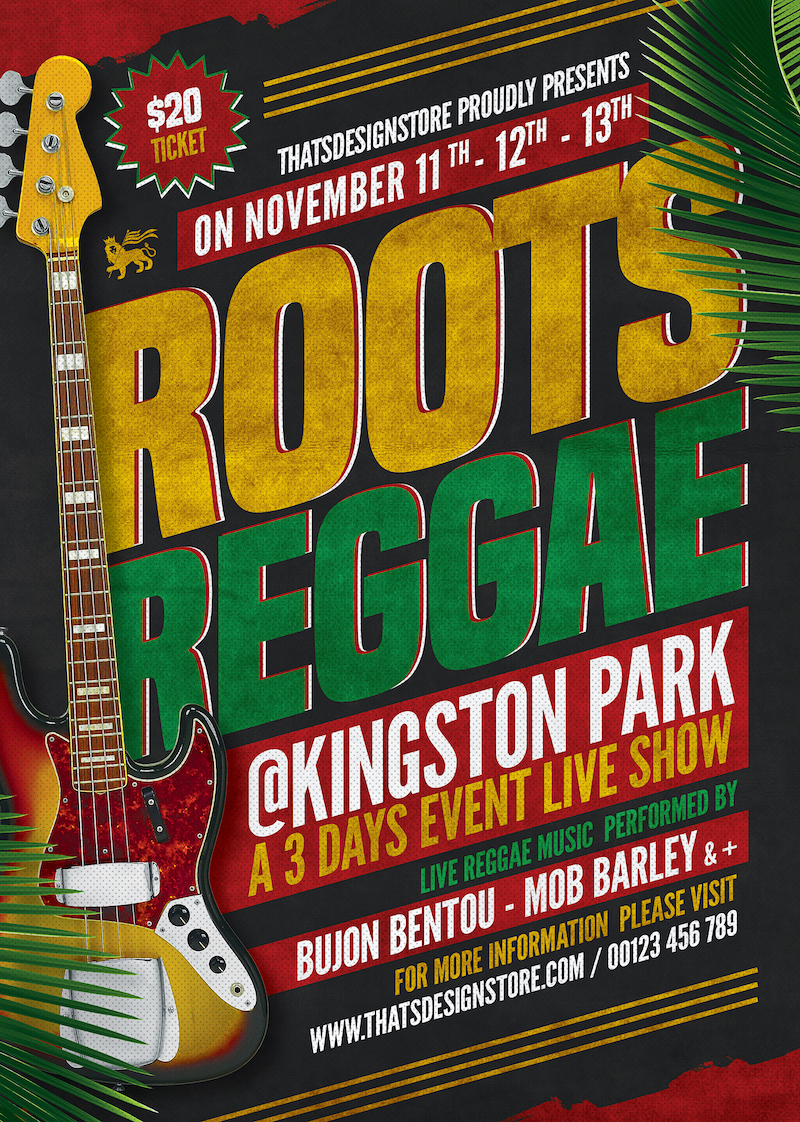 Reggae Music Flyer Template, Rasta PSD Poster V2 for Photoshop