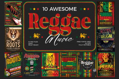 10 Reggae Music Flyer Templates psd for photoshop Bundle