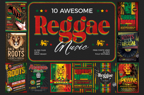 10 Reggae Music Flyer Templates psd for photoshop Bundle