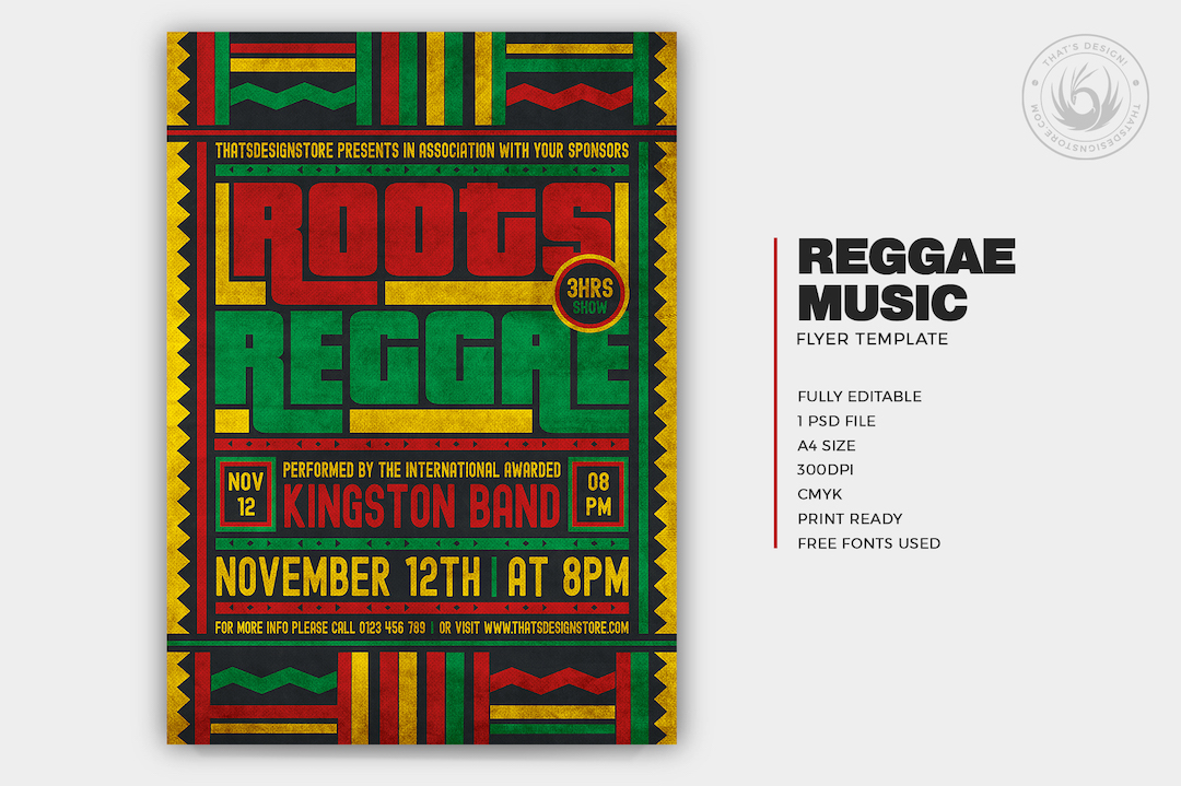 Reggae Music Flyer Template PSD download for photoshop, Rasta party poster