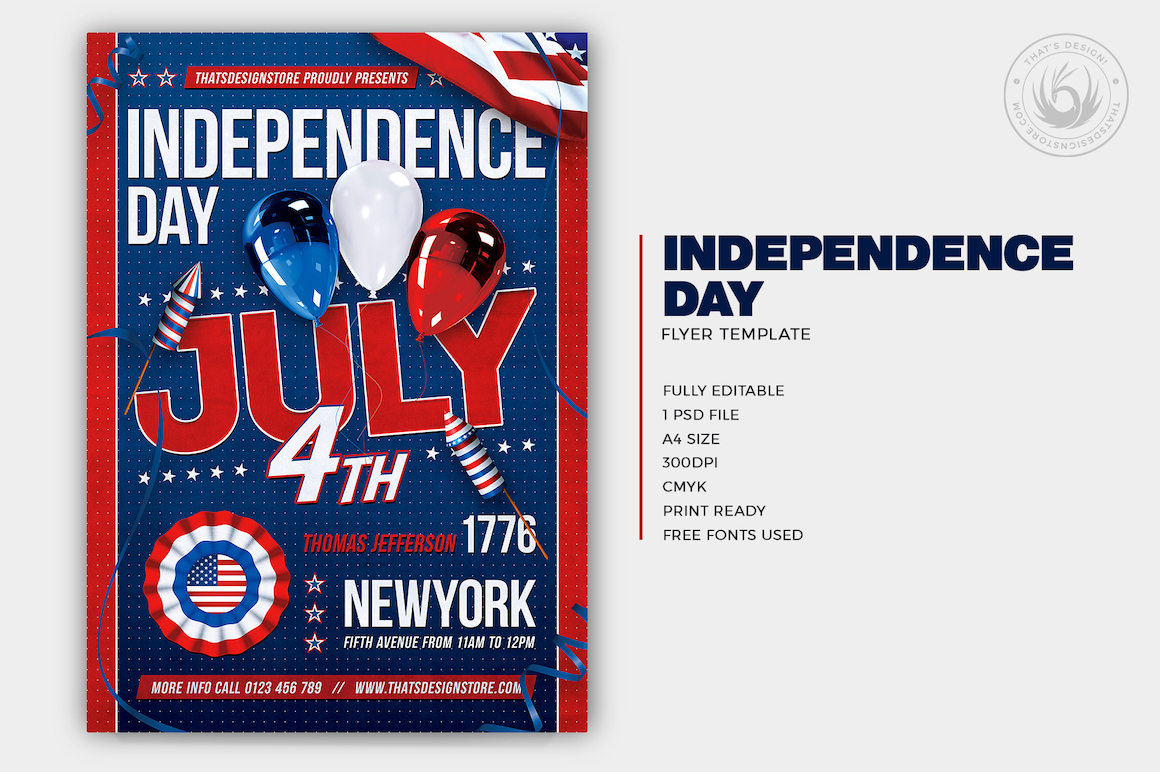 Independence Day Flyer Template PSD, 4th of July V6