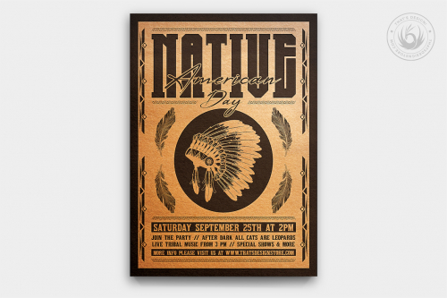 Native American Day Flyer Template PSD download