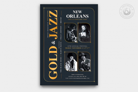 Golden Jazz Flyer Template PSD Download