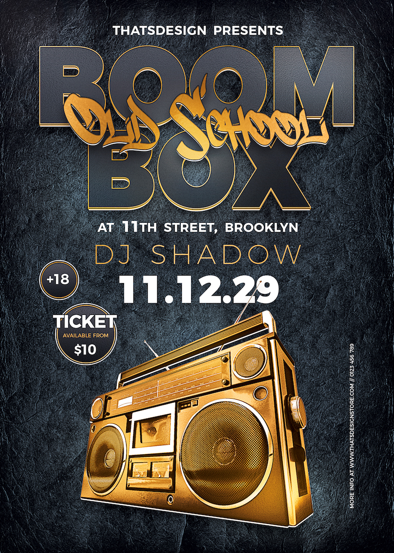 Boombox Flyer Template PSD Download V2