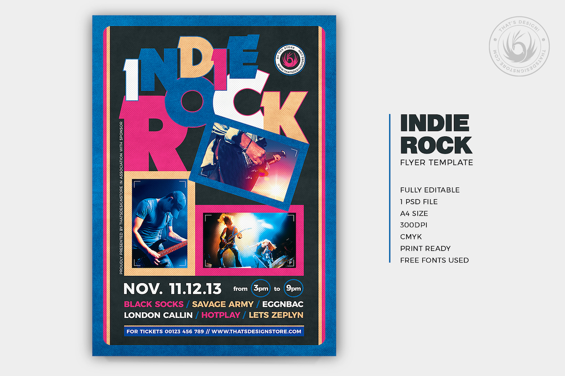 Indie Rock Flyer Template PSD Design for live band concerts