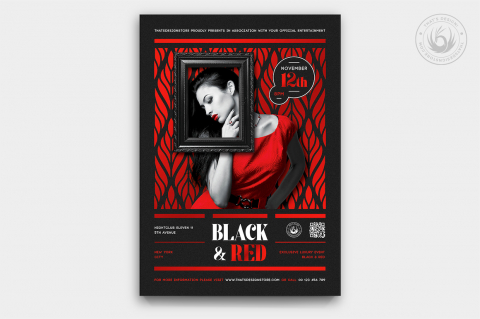 Black & Red Party Flyer Template PSD design for photoshop